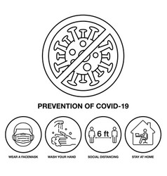set icon prevention covid-19 sign and symbol vector image