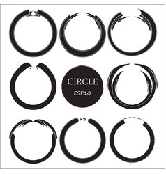 set of hand drawn circles design elements vector image