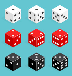 Set of isometric dice combination red white and vector