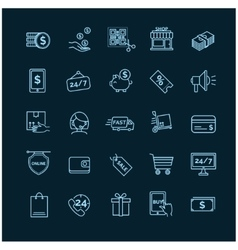 Shopping E-commerce icons on a black background vector image