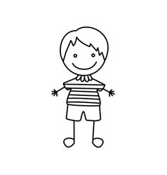 silhouette hand drawing cute boy happy icon vector image