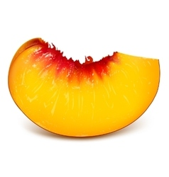 Slice of ripe peach vector