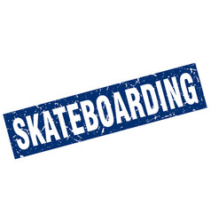 square grunge blue skateboarding stamp vector image