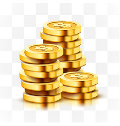 Stack golden dollar coins isolated on vector