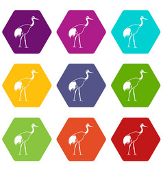 stork icon set color hexahedron vector image