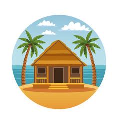 Summer and beach round symbol vector