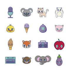 sweet and adorables kawaii set characters vector image