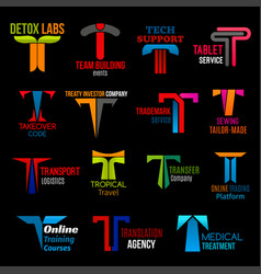 T shape icons corporate identity colorful design vector