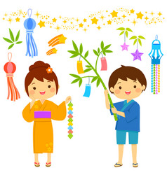 Tanabata cartoon set vector