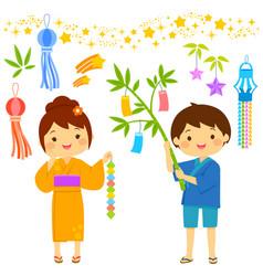 tanabata cartoon set vector image