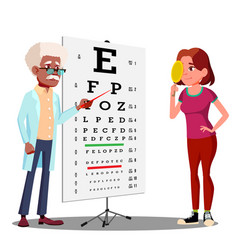 teen girl making test chart in ophthalmologist s vector image