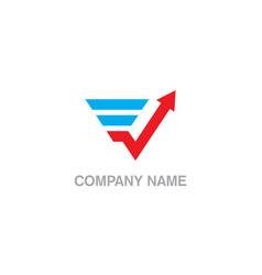 triangle arrow business company logo vector image