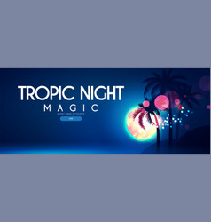 tropic night beach party poster template with vector image