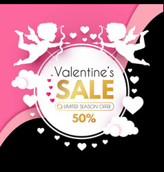 valentine s day sale cute design template with vector image