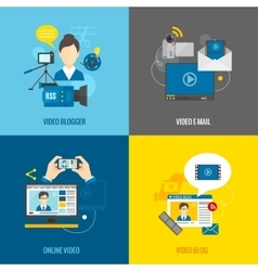 Video Blog Flat Set vector