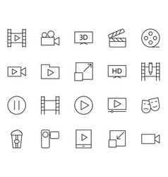 video thin line icons set pictograms vector image