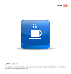 Warm drink icon - 3d blue button vector