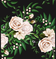 Watercolor rose bouquet seamless pattern vector