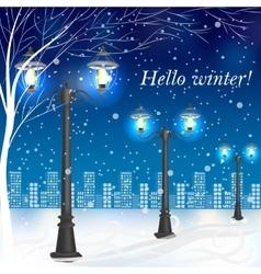 Winter evening landscape with vintage lampposts vector image