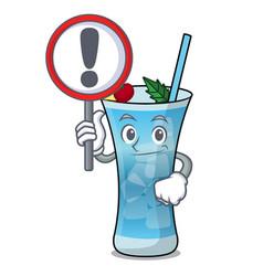 With sign blue hawaii character cartoon vector