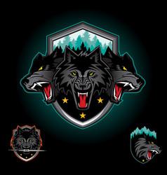 Wolf pack emblem logo vector