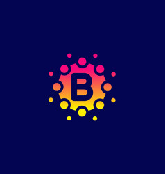 Yellow pink gradient color b initial letter vector
