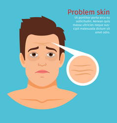 Young man face problem wrinkles vector