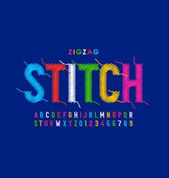 zigzag stitch style font vector image