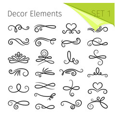calligraphy scroll elements decorative retro vector image