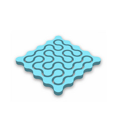 closed 3d maze blue abstract maze with dropped vector image vector image