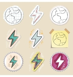 Ecology emblems set Hand drawn and isolated vector image vector image