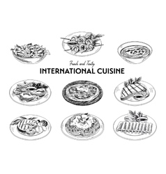 hand drawn sketch international cuisine set vector image vector image