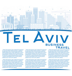 Outline tel aviv skyline with blue buildings and vector