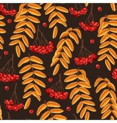Seamless rowan berries and leaves vector