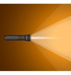 Beam of light from flashlight black metal vector