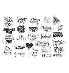 big bundle of 25 hand drawn summer quotes vector image