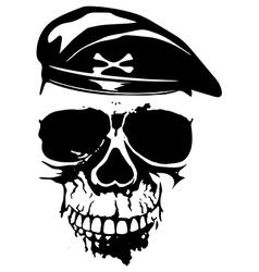 grunge skull in beret vector image vector image