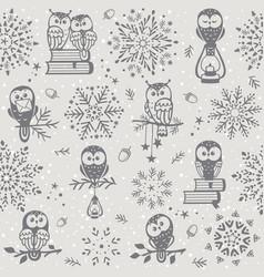 owl seamless winter vector image vector image