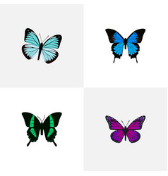 Realistic lexias purple monarch common blue and vector