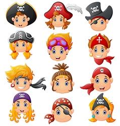 set cartoon pirate head vector image