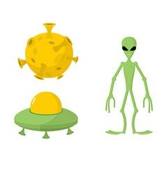 Set green alien and UFO Moon vector image vector image