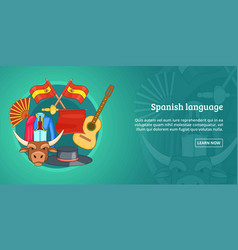 spain banner horizontal cartoon style vector image vector image