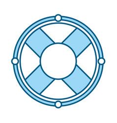 cute blue lifebuoy icon cartoon vector image