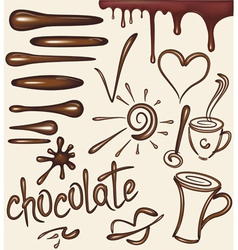 set of chocolate drips brushs vector image vector image