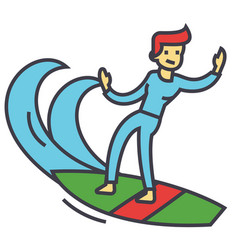 Surfing man surfer with surfboard concept line vector