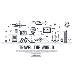 Travel the world linear vector image vector image