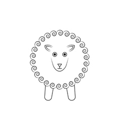 white sheep outline vector image vector image