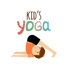 Yoga kids logo with boy vector image vector image