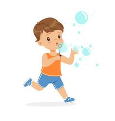 cute little boy blowing bubbles vector image vector image