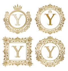 golden letter y vintage monograms set heraldic vector image